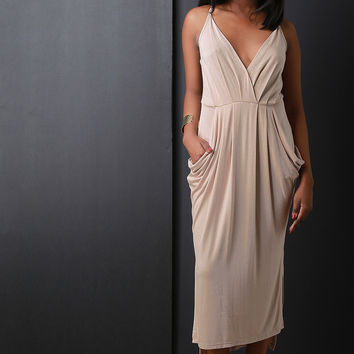 Surplice Pleated Draped Side Slit High Low Midi Dress