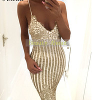 Sexy Gold Shaped Sequins Jumpsuit Women Deep V Satrap Playsuit 2016 Autumn Femme Embroidery Mid calf Club Bodycon Rompers