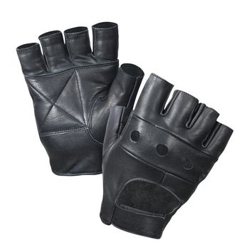 Rothco Black Leather Fingerless Biker Gloves