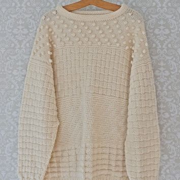 Vintage 1970s Handknit + Irish Fisherman Sweater