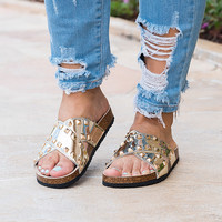 Studded Criss Cross Sandals - Gold