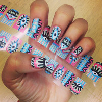 Nail polish strips. TWO SETS of Nail decal wraps. Pastel Aztec Eye Nail Art.
