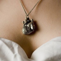 Anatomical Heart Jewelry in Antique Silver