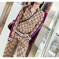 """Gucci"" Woman's Leisure Fashion Letter Personality Printing Spell Color Stripe Zipper Long Sleeve Tops Trousers Two-Piece Set Casual Wear"
