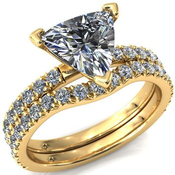 Nefili Trillion Moissanite 4 Prong 3/4 Eternity Diamond Accent Engagement Ring