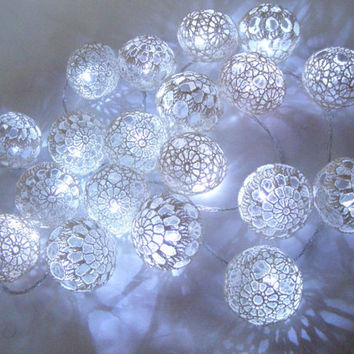 Wedding Lighting, Party Lighting, Bedroom Decor lamps, Fairy Lights,LED String Lights, 20 White Lace Crocheted balls, garland light