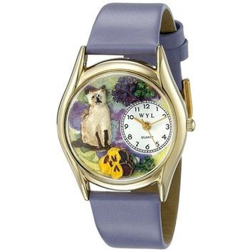 SheilaShrubs.com: Women's Siamese Cat Lavender Leather Watch C-0120004 by Whimsical Watches: Watches