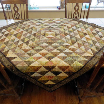 Quilted Couch Throw Table Cloth Bed Topper in creams and brown batiks handcrafted