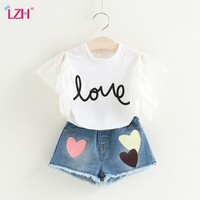 LZH Toddler Girls Clothing Sets 2018 Summer Girls Clothes T-shirt+Shorts Outfits Kids Clothes Girls Sport Suit Children Clothing