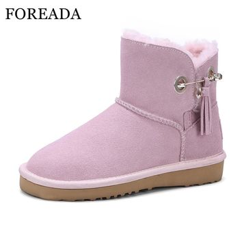 FOREADA Women Winter Boots Genuine Leather Snow Boots Wool Fur Ankle Boots Platform Wedge Shoes Fringe Suede Shoes Female Pink