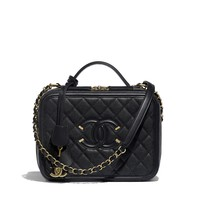 Vanity Case, grained calfskin & gold-tone metal, black - CHANEL