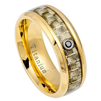 8mm Gold IP Titanium Wedding Ring with Golden Carbon Fiber Inlay & 0.07ct Black Diamond