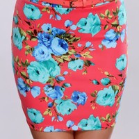 Coral Floral Fitted Skirt
