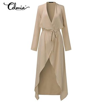 2018 Autumn Spring Womens Thin Trench Coat Long Sleeve Open Front Tie Waist Casual Long Belted Outerwear Windbreaker Plus Size