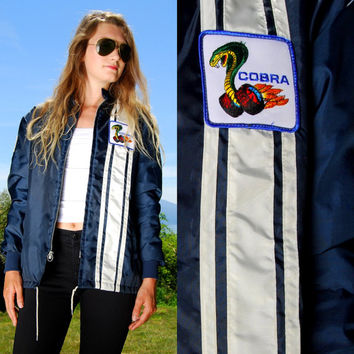 1970's FORD COBRA Navy Blue Racing Jacket with Vintage Patches, Fur Fleece Lined Jacket Size Men's Small Ford Jacket, American Flag Patch