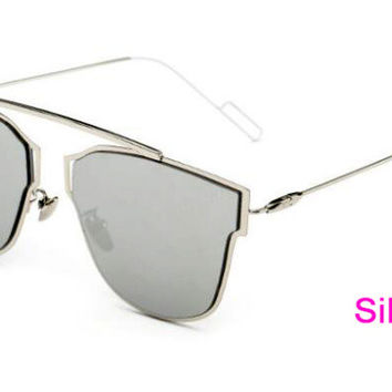 Flat Panel Lens Sunglasses  Silver