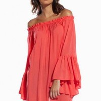Coral Flowing Sleeves Top