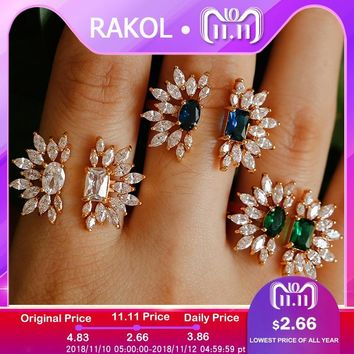 PAKOL Luxury Blue Crystal Stone Flower Gold Color Fashion Wedding Engagement Rings For Women Christmas Gifts