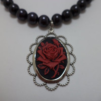 Gothic Red and Black Rose Cameo Beaded Necklace