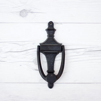 Vintage Black Robert Emig Cast Iron Door Knocker | Retro Home Improvement | Front Door Decor