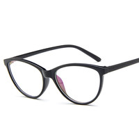 Female Grade Glass Frame Of Spectacles Frame With Clear Lens Cat Eye Full-Rim kly2363