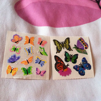 x2 Lot Sandylion Stickers Butterflies Holographic Cute Small Rainbow