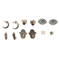 With Love From CA Evil Eye Hamsa Multi 6 Earring Set - Womens Jewelry - Gold - NOSZ