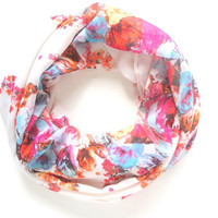 Floral Infinity Scarf, Floral Scarf, Spring Infinity Scarf, Mother's Day Gift, Colorful Scarf, Wide Width