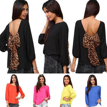 Fashion Sexy Women's Backless Chiffon Blouse with Leopard Bowknot Puff-Sleeved Chiffon Blouson Tops S M L XL XXL 0711