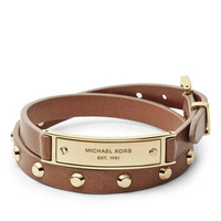 Michael Kors Double-Wrap Leather Bracelet, Luggage/Golden