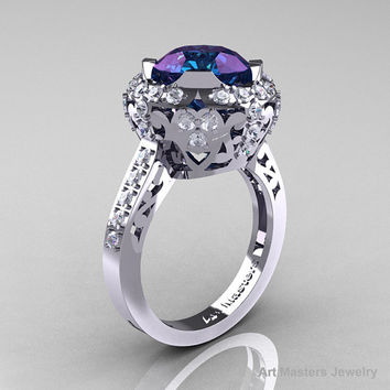 Modern Edwardian 14K White Gold 3.0 Carat Alexandrite Diamond Engagement Ring, Wedding Ring Y404-14KWGDAL