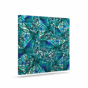 """Ebi Emporium """"New Directions, Peacock Cool"""" Teal Blue Pattern Geometric Mixed Media Painting Art Canvas"""