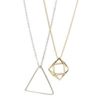 Geometric Shape 2-Pack Necklace Set - Multi