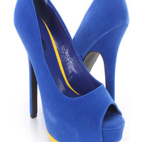 Royal Blue Two Tone Platform Pump 6 Inch High Heels Velvet