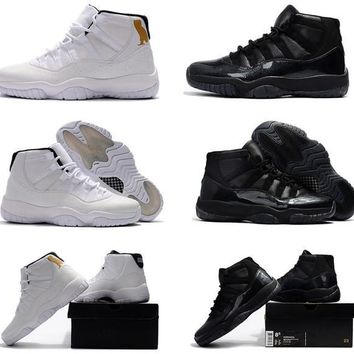 Beauty Ticks 2017 With Box New Mens Basketball Shoe Air Jordan Retro 11 Black Devil Ovo White Black Cat Gym Sneakers For Men Size Us7-us13