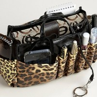 "Jolie Leopard and Black Handbag Organizer Tote Travel Cosmetic Make-Up Bag Very Lightweight Insert Dimensions: L 7.5""x H 6""x W 3.5"""