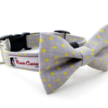 Gray and Yellow Polka Dot Dog Collar (Grey , Yellow Dog Collar Only - Matching Bow Tie Available Separately for Wedding & Special Occasion)