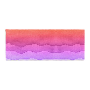 "Kess Original ""Ombre Sunset"" Coral Abstract Bed Runner"