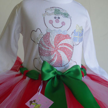 24 mos-2T Christmas Gingerbread peppermint rhinestone t-shirt & red/white tutu dress
