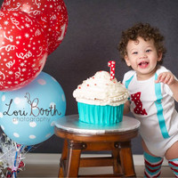 BOYS FIRST BIRTHDAY Outfit Red/Teal, Baby Boys Cake Smash Outfit, One with Suspenders, Boys 1st Birthday Outfit, Baby Boy Clothes