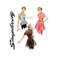 1950s Blouse Pattern Uncut Simplicity 1460 3535 Evening Peplum Scalloped Neckline Belted Tops Tunic Overskirt Womens Vintage Sewing Patterns