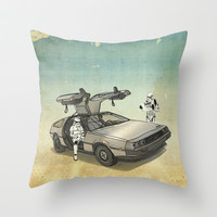 Lost, searching for the DeathStarr _ 2 Stormtrooopers in a DeLorean Throw Pillow by Vin Zzep