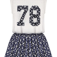 White 78 Print Sleeveless Lace Top and Floral Shorts Sets