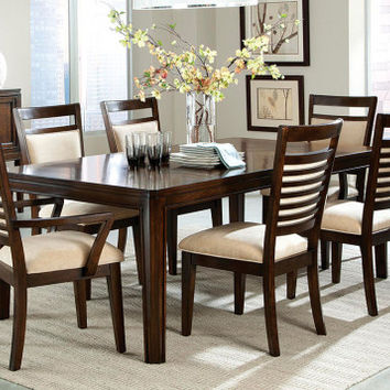 Cherry Finished Wood, Upholstered Chairs   Avion 5 Piece Dinette Set   American Freight