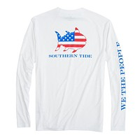Flag Skipjack Long Sleeve Performance T-Shirt in White by Southern Tide