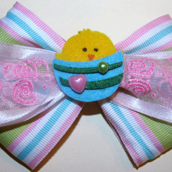 Easter chick hair bow- pastel accessories- hair clips for spring
