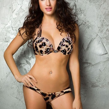 Hot Sexy Leopard Prints Bikini Beach wear /w thong stripper wear = 1945846788