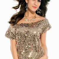 Seductive Off-Shoulder Glistening Sequin Top LAVELIQ