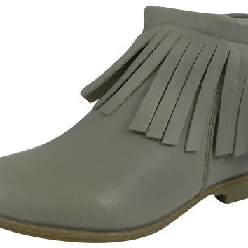 Old Soles Girl's 2012 Grey Ever Boots Leather Fringe Zipper Bootie Shoe