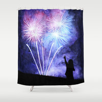 Blue and pink fireworks Shower Curtain by savousepate